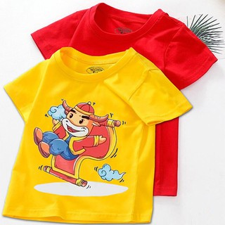Combo 2 áo tết cho bé trai, bé gái size lớn từ 16kg - 28kg - đồ tết cho bé trai, bé gái 2021 - quần áo trẻ em tết Tân Sửu - áo thun tết - CTM