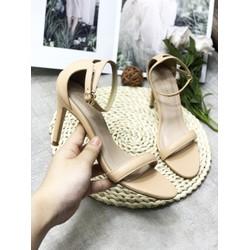 (Bảo hành 12 tháng) Giày sandal cao gót nữ bít hậu quai ngang cổ điển - Giày cao gót nữ 9cm - Giày nữ da mềm 3 màu Đen - Trắng Kem - Nâu - Linus LN286