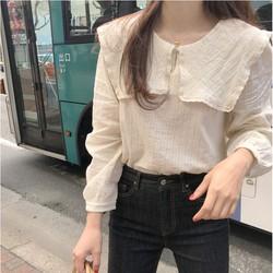 Áo kiểu nữ Thiết kế Dài tay Cổ búp bê Bánh bèo Trẻ trung Dễ thương Ulzzang Hàn Quốc Áo kiểu nữ Form rộng