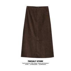 Chân váy Nhung Midi dài Lưng cao Dáng chữ A Màu trơn Lưng thun Retro Ulzzang Hàn Quốc Chân váy Nhung Midi dài Thu g