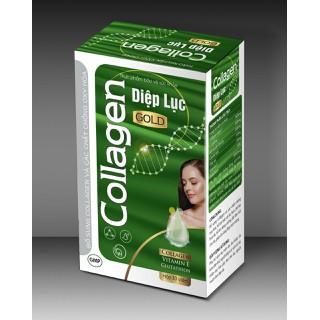 Viên Uống D.iệp Lục Ca.llagen Gold- giúp giữ dáng đẹp da, tăng cường sức khỏe- Hộp 30 viên- Xanh đậm - D.iệp Lục Ca.llagen Gold- thumbnail