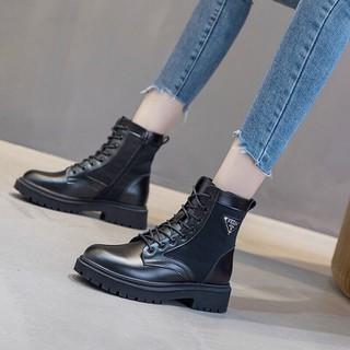 Boot da nữ dây buộc, bốt nữ lót lông - bdnd thumbnail