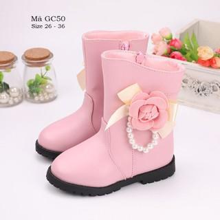 Boot da màu hồng cho bé gái 3 -12 tuổi cao cổ dáng ôm thời trang GC50