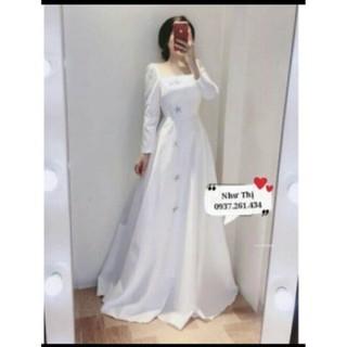 (miễn phí chỉnh váy) có big Size đầm dạ hội phi trắng tay dài + cài đá ngôi sao, đầm cô dâu đơn giản, đầm trắng dài - 165463 thumbnail