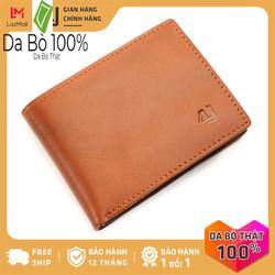 Bóp ví nam da bò thật 4U cao cấp, có nhiều ngăn đựng tiền và thẻ tiện dụng dáng ngang sang trọng lịch lãm FA187B (Nâu bò)