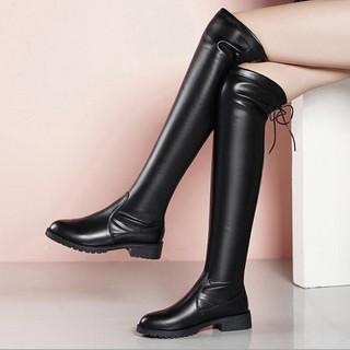 Giày Bốt Nữ Cổ Cao Da Mềm Đế Êm 3cm Mã H96 - H96 thumbnail