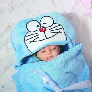 Khăn ủ kén hình thú có mũ carter 2 lớp mềm mịn với làn da bé, vừa làm áo choàng tắm tiện dụng cho trẻ sơ sinh - chăn ủ hình thú thumbnail