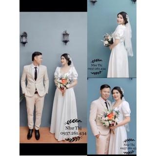(free chỉnh sửa váy) Dạ hội cưới phi trắng tay phồng xẻ tà, váy trắng chụp ảnh cưới, dạ hội trắng đi tiệc sang trọng - 111111 thumbnail