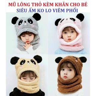 Mũ lông thỏ cho bé kèm khăn cổ siêu ấm siêu mịn - ấm cả tai và cổ - mũ len cho bé - MS47 thumbnail