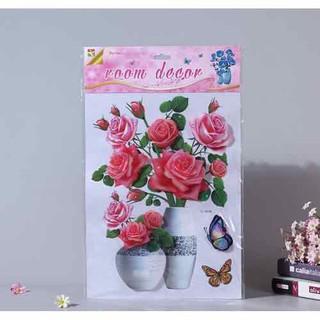 [ Free ship] Combo 4 tranh hoa nổi 3d dán tường, dán cửa, dán kính loại đẹp - 4 tranh hoa nổi thumbnail