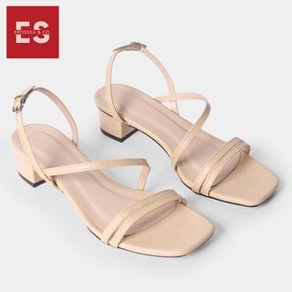 Giày sandal cao gót Erosska thời trang mũi vuông quai ngang phối dây mảnh cao 3cm màu nude - EB031 - EB031NU thumbnail