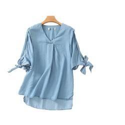 Áo denim xanh cách điệu