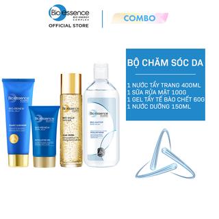 Combo chăm sóc da Bio-Essence (Tẩy trang 400ml + Sửa rửa mặt Renew 100g + Tẩy tế bào chết 60g + Nước dưỡng Gold 150ml) - CB02WP200510 thumbnail