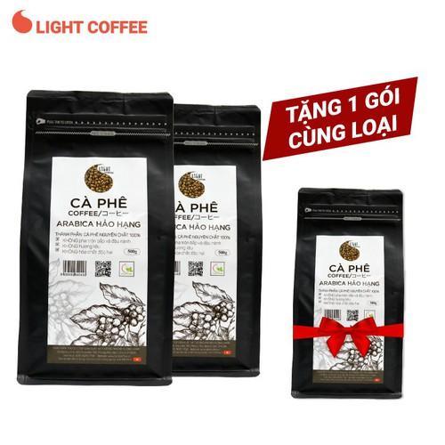 [Tặng 1 gói 500g] combo 2 gói 500g cà phê hạt arabica hảo hạng - light coffee