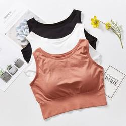 Áo cotton thun croptop 3 lỗ nữ kiểu dáng basic ôm body trẻ trung – Freesize- Mã 3682 – Lê Ngọc Fashion