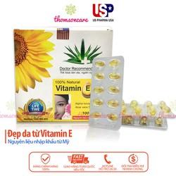 Viên nang mềm Vitamin E 400 hộp 100 viên chăm sóc da nam nữ bảo vệ da ban đêm bớt khô da tay mặt nứt nẻ môi mùa hanh khô cho mẹ bầu người già giúp giảm nguy cơ ung thư giữ ẩm da mềm đen tóc chống lão hóa tuổi 30 50