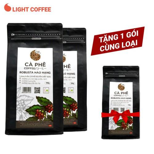 [Tặng 1 gói 500g] combo 2 gói 500g cà phê hạt nguyên chất robusta hảo hạng light coffee