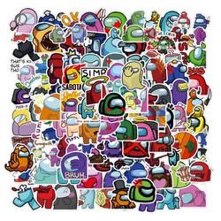 Sticker AMONG US nhựa PVC không thấm nước, dán nón bảo hiểm, laptop, điện thoại, Vali, xe, Cực COOL #158