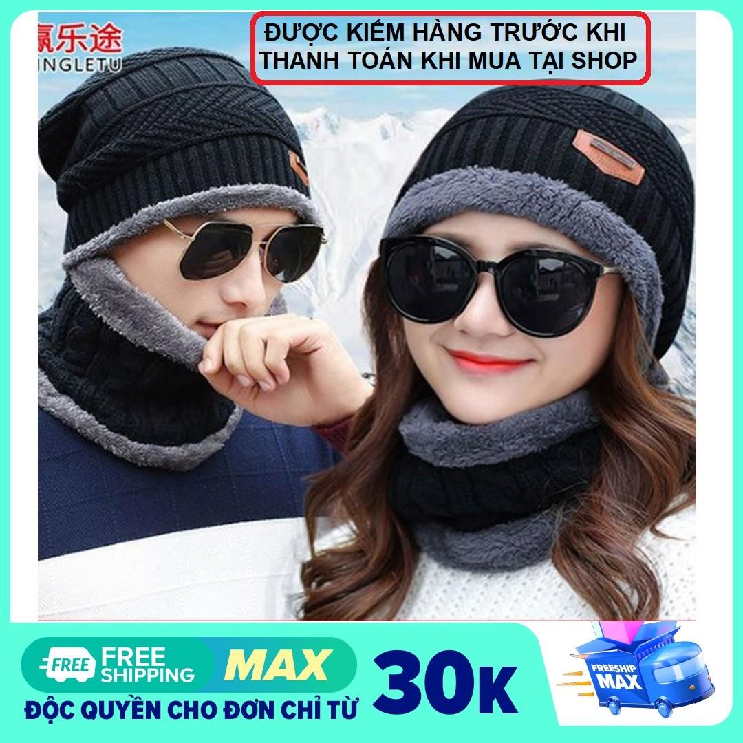 Set Mũ len nam nữ kèm khăn quàng cổ lót lông - bộ khăn mũ len người lớn, set khăn nón