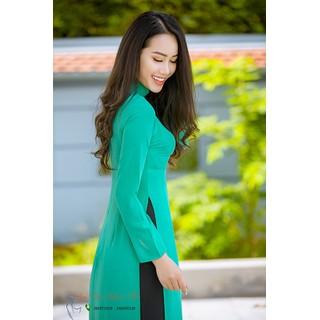 Áo dài trơn 2 tà chất liệu lụa tằm Ý cao cấp màu xanh ngọc (Nguyên áo chưa có quần) - AD2TXN thumbnail