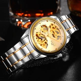 Đồng hồ nam máy cơ Bos Automatic dây kim loại - Mặt vàng dây demi [ĐƯỢC KIỂM HÀNG] - 39601857 thumbnail