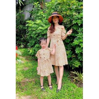 Đầm đôi mẹ và bé hoa cúc xinh xắn-Đủ size-Hình chụp thật - Hoa cúc vàng thumbnail