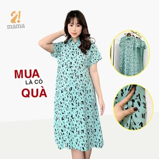 Đầm váy bầu công sở 2MAMA thiết kế sơ mi họa tiết vệt đen - V13 - V13 thumbnail