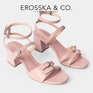 Giày sandal cao gót Erosska thời trang nữ quai ngang phối dây mảnh đính móc khóa tinh tế cao 6cm màu hồng _ CS006 - CS006PI thumbnail