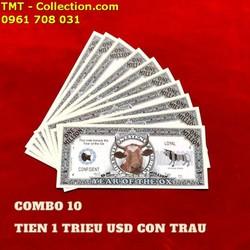 Combo 10 Tiền Lưu Niệm 1 Triệu USD Hình Con Trâu có kích thước 15,5 x 6,5cm, tiền chất liệu bằng giấy, được in hình một chú Trâu, linh vật của năm 2021 - SP005076
