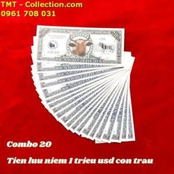 Combo 20 Tiền Lưu Niệm 1 Triệu USD Hình Con Trâu có kích thước 15,5 x 6,5cm, tiền chất liệu bằng giấy, được in hình một chú Trâu, linh vật của năm 2021 - SP005077