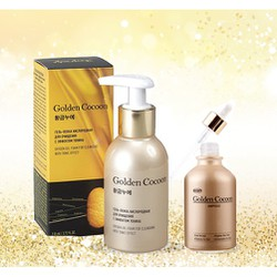 Combo Dưỡng Da Dưỡng Ẩm Sâu Kén Tơ Tằm Vàng Golden Cocoon O2 Bubble Cleansing Gel And Ampoule