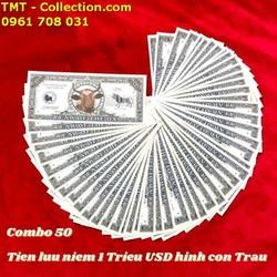 Combo 50 Tiền Lưu Niệm 1 Triệu USD Hình Con Trâu có kích thước 15,5 x 6,5cm, tiền chất liệu bằng giấy, được in hình một chú Trâu, linh vật của năm 2021 - SP005078
