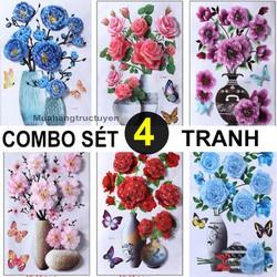 Combo 4 Tranh hoa nổi 3D trang trí dán tường, dán kính, dán cửa- GIAO 4 MẪU KHÁC NHAU