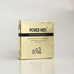 (Giá dùng thử) Bao cao su Powermen Vàng ánh kim Invi 0.03 Hộp 1 chiếc