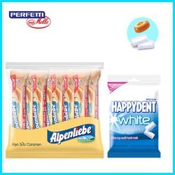 Combo 1 gói Kẹo Sữa Caramen Alpenliebe 16 thỏi và 1 gói Sing gum Happy Dent 40 viên