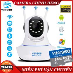 [Kèm THẺ NHỚ 64GB] Camera Wifi Yoosee 3 Râu Xoay 360 Độ Full HD 1080P