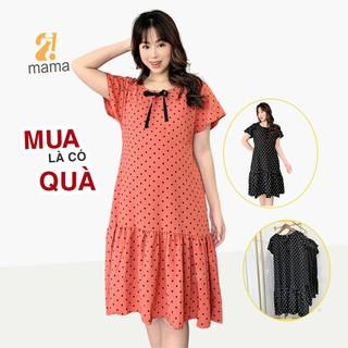 Đầm váy bầu dự tiệc 2MAMA thiết kế đuôi cá chấm bi màu cam - V16 - V16 thumbnail
