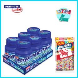Combo Sing gum Mentos Fresh Action hương bạc hà mạnh và gói Kẹo Alpenlibe Hương Sữa Caramen & Hương Dâu Kem 1kg