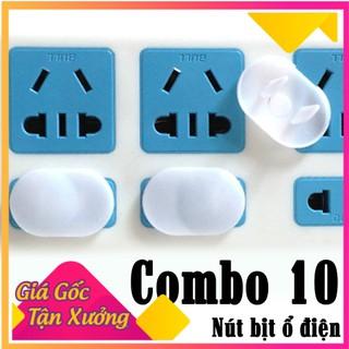 COMBO 10 MIẾNG Nút bịt ổ điện nắp cắm 2 chân chống giật an toàn cho bé trẻ em [ bộ 10 ] - b nhyqq1298v44 f thumbnail