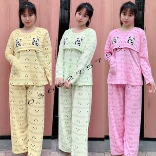 Đồ bộ bầu và sau sinh dài tay hình GẤU vén ngực mặc nhà và cho con bú pijama chất mát 2G - V41 thumbnail