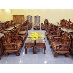 Bộ bàn ghế sơn thủy gỗ cẩm lai cẩn ốc 13 món chân 16 BBG144C
