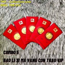Combo 5 Bao lì xì Con Trâu Vip đi kèm với một đồng xu mặt hình chú Trâu xinh xắn, có 4 mẫu, giao mẫu ngẫu nhiên, được ốp nhựa arylic bên ngoài, kích thước 17 x 7 x 0.3cm - SP005148