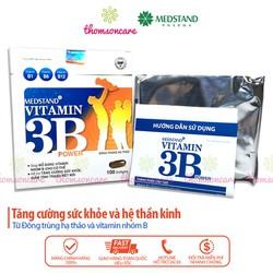 Viên uống bổ sung Vitamin B Medstand Vitamin 3B Power hộp 100 viên giúp bé 6 12 tuổi ăn ngon tăng cân giảm mệt mỏi đau đầu stress suy nhược tinh thần lo âu cung cấp vitamin b1 b6 b12 tăng cường sức khỏe đề kháng thành phần đông trùng hạ thảo