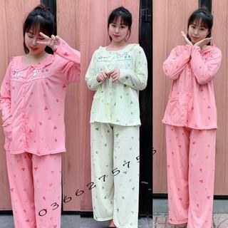 Đồ bộ bầu và sau sinh dài tay hình nấm vén ngực mặc nhà và cho con bú pijama mát cherry - V45 thumbnail