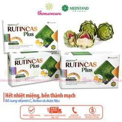 Medstand Rutincas Plus bổ sung vitamin C hộp 30 viên giúp tăng sức đề kháng bền thành mạch giảm loét nhiệt miệng chảy máu chân răng thường xuyên căng thẳng mệt mỏi lo âu stress hiệu quả thành phần từ actiso và dược liệu