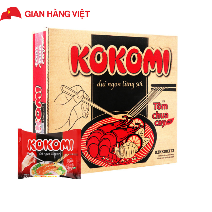 Mì Kokomi chua cay Thùng 30 gói x 65g HSD tháng 05/2021