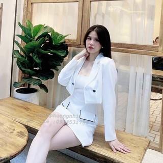 sét đầm kèm áo khoác vest siêu sang - sét váy kèm áo khoác thumbnail