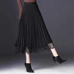 Chân váy dài midi xếp li phối lưới siêu sang