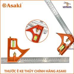 Thước ke góc có thủy ASAKI AK-2592 hàng chính hãng, chất lượng, chính xác, Thước ê ke thủy, Thước vuông Livo Asaki, Thước ke góc vuông đa năng 30cm