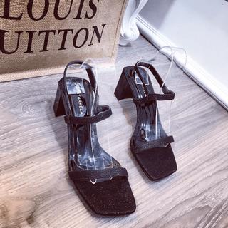 Giày sandal nhũ gót vuông dây mảnh xinh xắn - sh2688 thumbnail